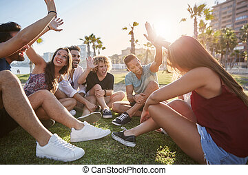 groupe, séance, donner, élevé, dehors, cinq, amis