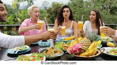 groupe, séance, sain, communication, végétarien, gens, nourriture, exotique, jus, manger, terrasse, table, tintement, amis, lunettes