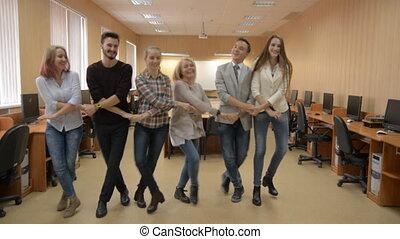 groupe, salle, gens, réussi, danse, informatique