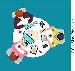 groupe, salle, gens, table., sommet, travail, illustration, personnes, vecteur, réunion, vue