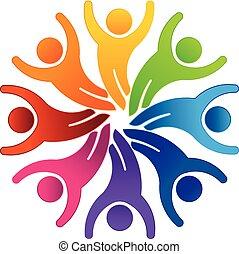 groupe, salut, 5, 8, équipe, logo