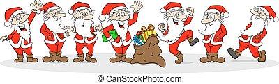 groupe, santa, voeux, joyeux, clauses, noël