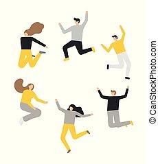 groupe, sauter personnes, fond, blanc, heureux