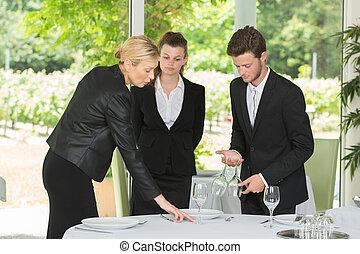 groupe, serveurs, restaurant