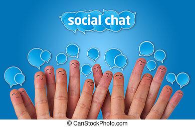 groupe, signe, smileys, doigt, bavarder, social, heureux