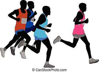 groupe, silhouette, coureurs marathon