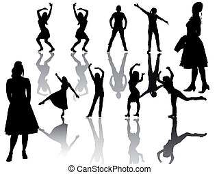 groupe, -, -silhouette, femmes