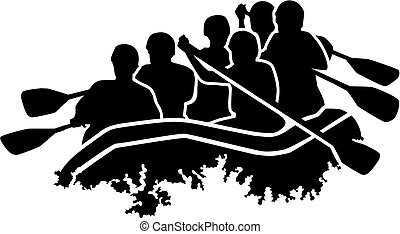 groupe, silhouette, rafting