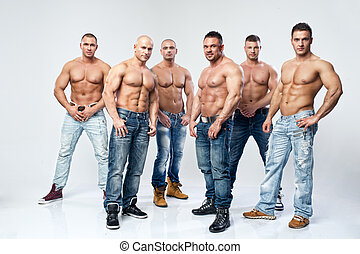 groupe, six, jeune, musculaire, dénudée, poser, mouillé, ...