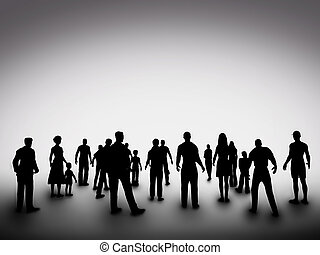 groupe, société, gens, silhouettes., communauté, divers, ...