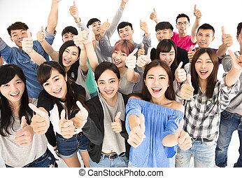 groupe, sommet, jeune, haut, pouces, heureux, vue