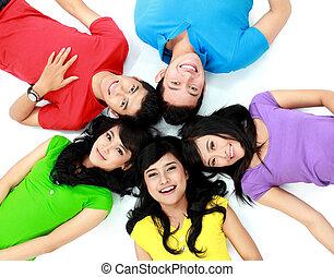 groupe, sourire, amis, heureux