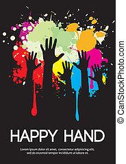 groupe, space., grand, conception, mains, copie, heureux
