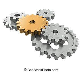 groupe, symbole, équipe travail, gears., éditorial