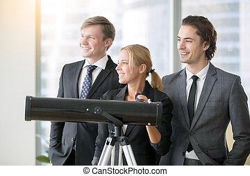 groupe, télescope, professionnels, optique, sourire