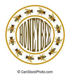 groupe, texte, abeille, cercle, abeille, ou