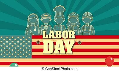 groupe, usa, ouvriers, main-d'œuvre, drapeau, jour