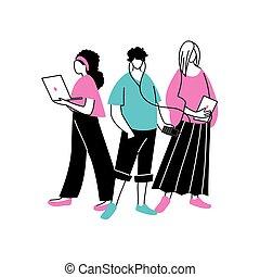 groupe, utilisation, gens, technologique, gadgets