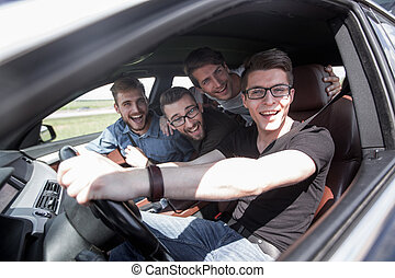 groupe, voiture, ensemble, amis, voyage, route