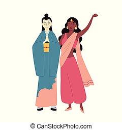 groupe, women., gens., multiculturel, multiracial, indien, asiatique, divers