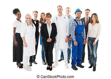 grouper portrait, de, confiant, gens, à, métiers