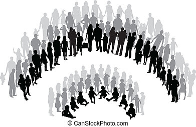 groupes famille, vecteur, travail