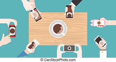 groupes, plat, café, comportement, manger, avoirs entourent, nourriture, photo, photographie, aimer, téléphone, vecteur, conception, prendre, mains humaines, table bois, intelligent, avant