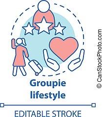groupie, adoración, editable, drawing., aislado, línea, ...