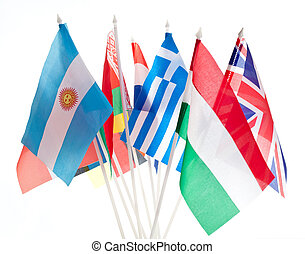 Grouping of various flags of the world
