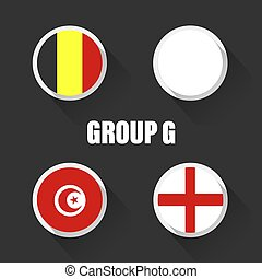 Groups football world championship in Russia. Vector illustration country flags.