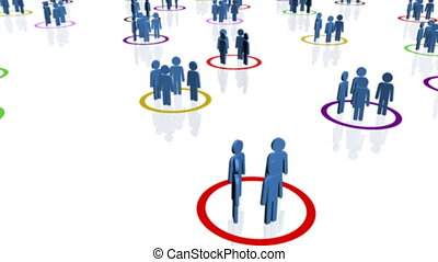 Groups of blue people in multi-colo - Groups of blue...