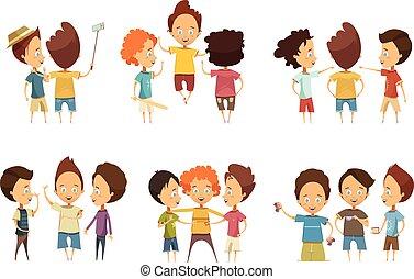 Groups Of Boys Cartoon Style Set