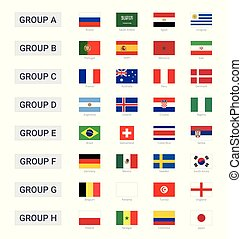 Groups of championship cup 2018 in Russia flags