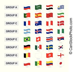 Groups of championship cup 2018 in Russia waving flags