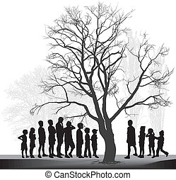 Groups of children in the park - vector illustration of two...