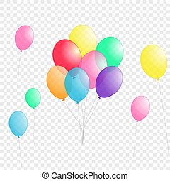groups of colorful helium balloons isolated on transparent background