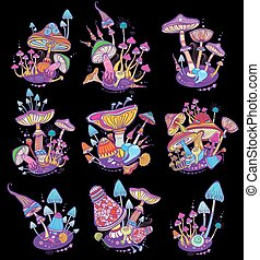 Groups of decorative mushrooms on black