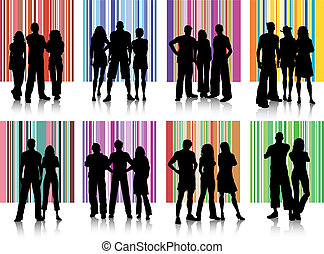 Silhouettes of various groups of people on retro backgrounds