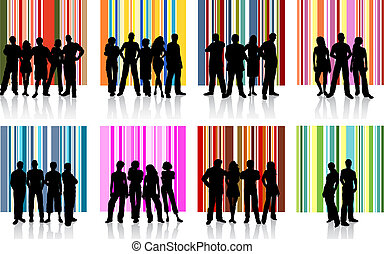 Groups of people - Various silhouettes of different groups...