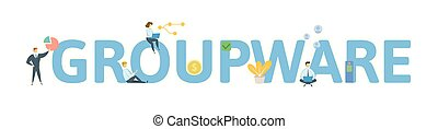 GROUPWARE. Concept with people, letters and icons. Colored flat vector illustration. Isolated on white background.