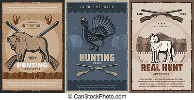 grouse, chasse, chasseur, animaux, buffle, loup, fusils