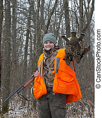 Grouse Hunting - Young Boy out Grouse hunting