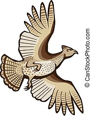 Grouse in Flight - vector illustration a ruffed grouse...