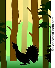 grouse in the forest - vector illustration of grouse