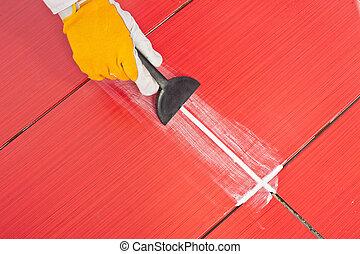 grout, tegels, arbeider, trowel, rubber, zich wenden tot, whit, rood