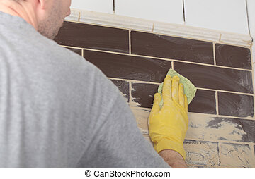 Grouting ceramic tiles - Contractor grouting ceramic tiles ...