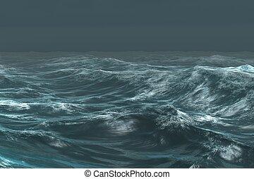 grov, blå ocean, under, skum himmel