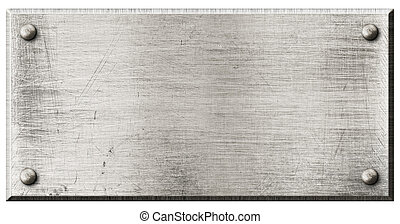 grov, stål, metall tallrik, med, nitar, isolerat