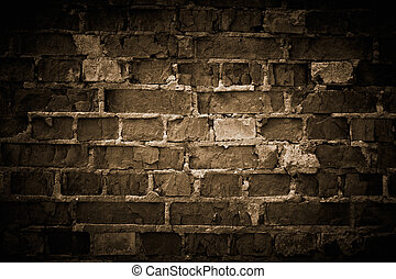 grov, tegelsten vägg, toned.