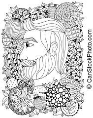 groviglio, vettore, ritratto, uomo, scarabocchiare, zen, floreale, illustrazione, nero, stress, anti, adults., coloritura, ornament., white., frame., libro